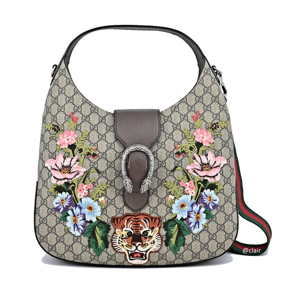 c28d97bca63 Gucci Dionysus Embroidered Medium GG Supreme Hobo